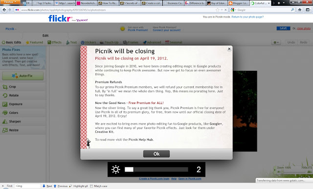 Although heading of this notification says - 'Picnik will be closing' , but I liked the part through which some of the premium tools are free and can be tried till 19th April 2012. After that Picnik will be discontinued by Google for more priority businesses. Slowly online Photo Editing, Sharing portals are being closed by major companies and it seems revenue is not significant to focus on these business lines. But how does it impact Photographers? Will such changes increse the market for Desktop Photo Editing software, which always offer more power? Let's see how this game changes the Photo editing software market.