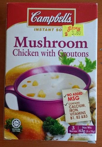 Cendawan ayam dengan crouton Campbell's, sup segera perisa cendawan ayam dengan crouton jenama Campbell's harga: RM3.80