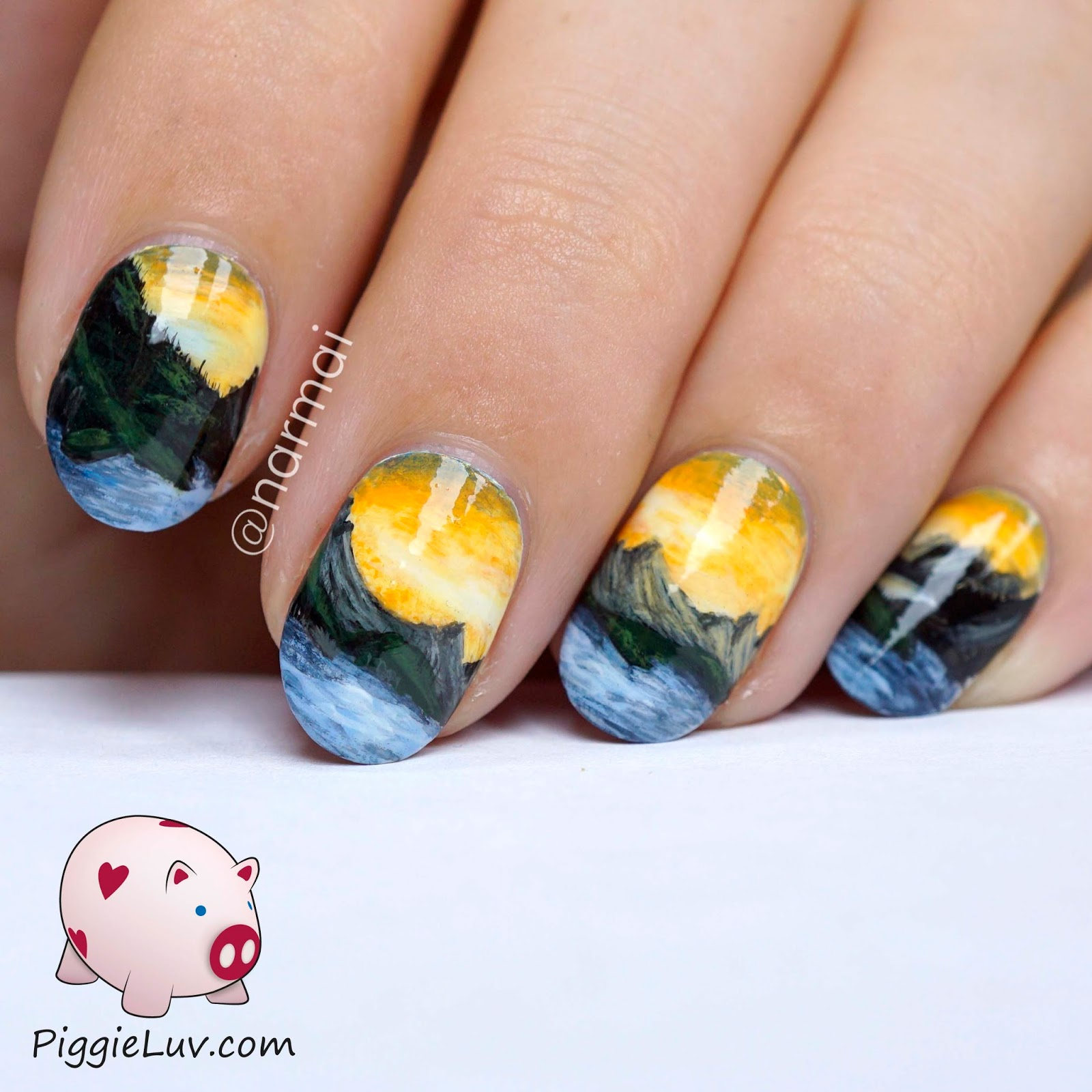 Piggieluv Freehand Mountain Landscape Nail Art