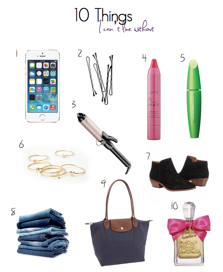iphone, bobby, pins, tarte, pouty, lip, stain, covergirl, clump, crusher, dainty, rings, curling, iron, conair, sam, edelman, boot, petty, american, eagle, jeans, longchamp, juicy, couture, viva, la,