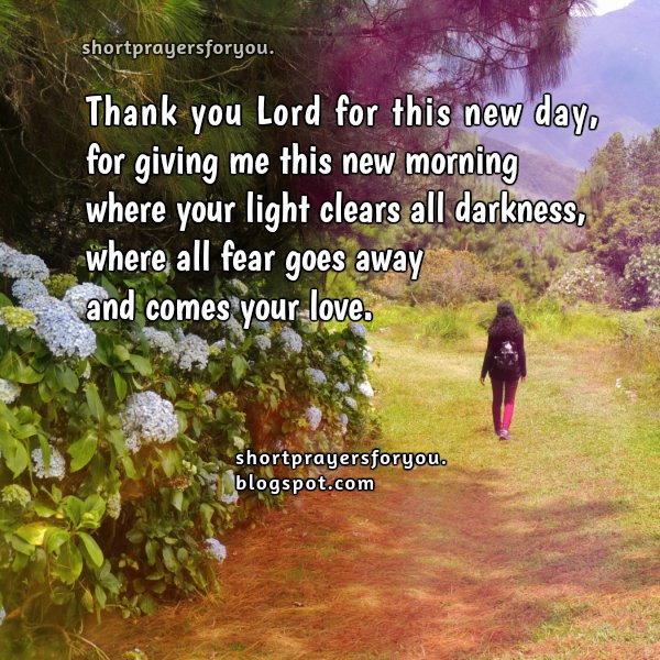 Short morning prayer for new day, free christian prayer, image with prayers for facebook wall, short prayer for woman and man when go to work