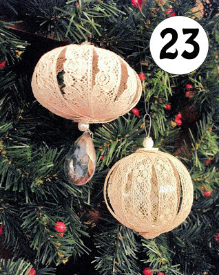 Vintage lace Christmas decorations