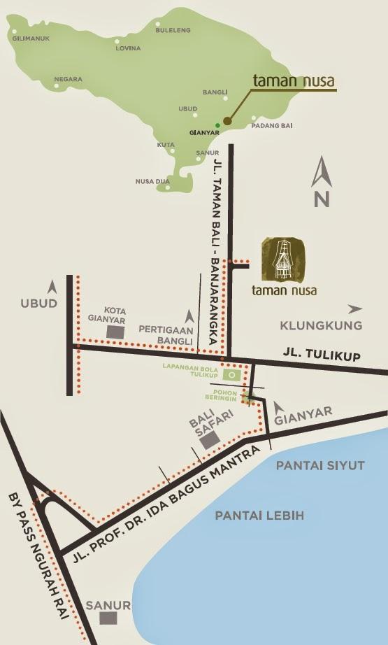 Peta Tempat Wisata Taman Nusa Gianyar
