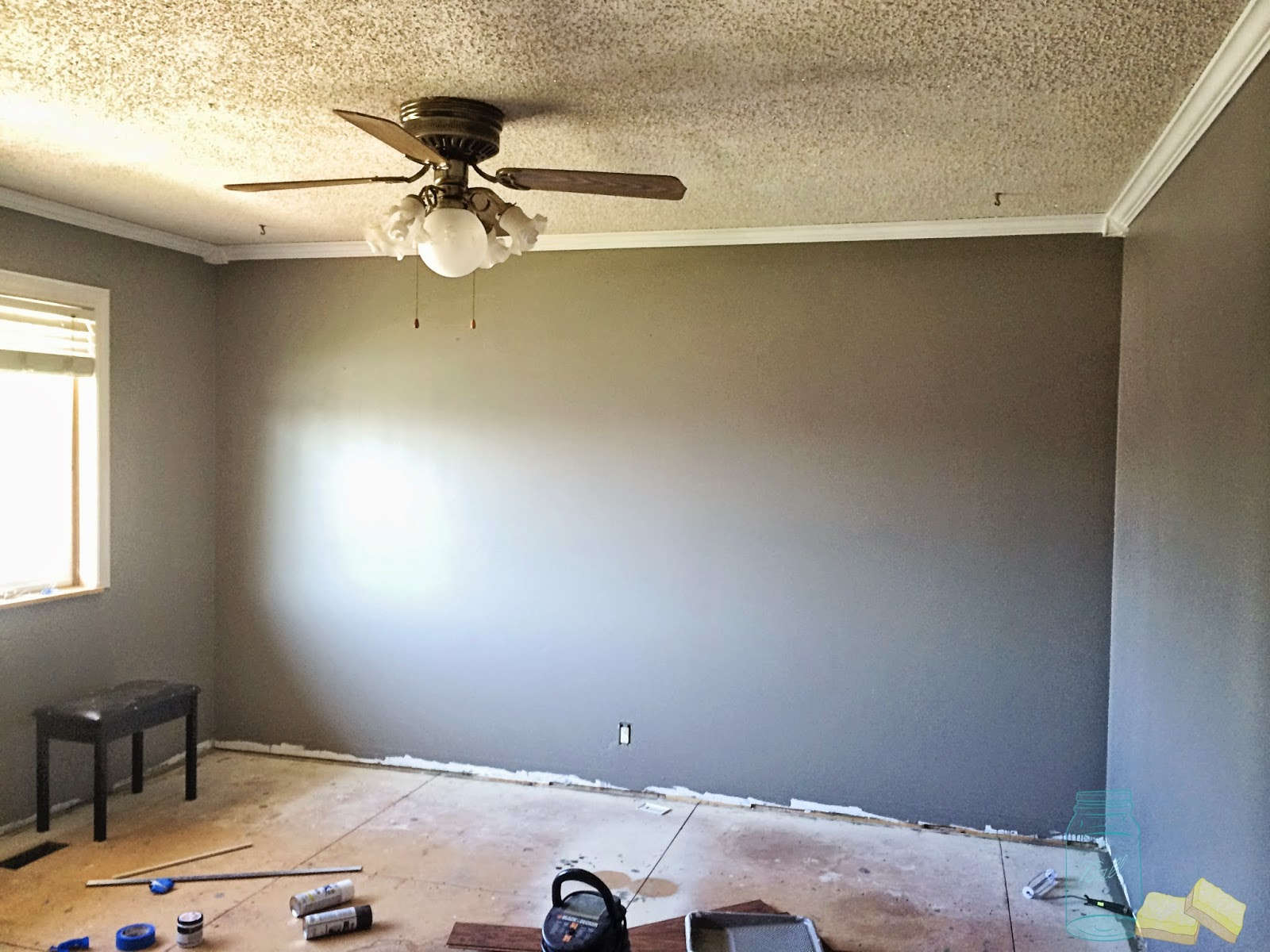 living room renovation removing popcorn ceilings