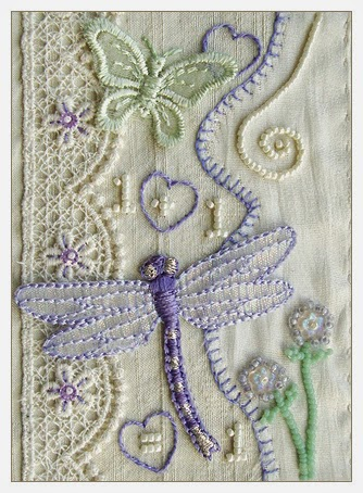 bead embroidery by Robin Atkins, Message to Young Brides, March 2014