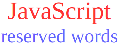 reserve words javascript