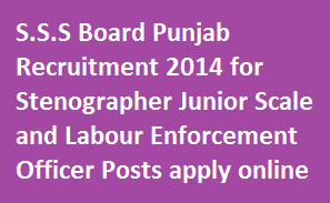 SSSB Recruitment 2014 for 226 Vacancies-Apply for Stenographer Junior Scale and Labour Enforcement Officer Posts in Online at www.punjabsssb.gov.in