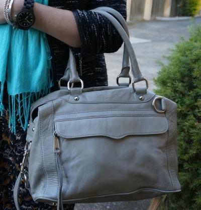 Rebecca Minkoff soft grey MAM MAB mini Bag with orange and turqouise