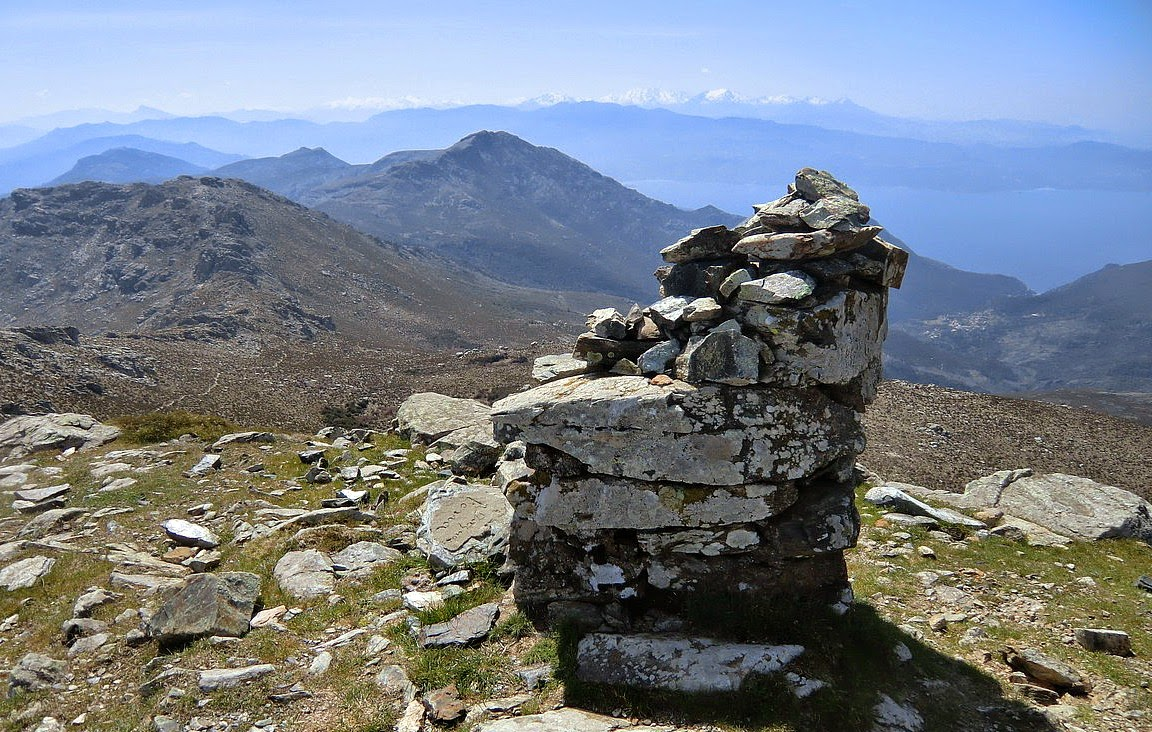 Corsica's highest snow-capped mountains seen from Monte Stello