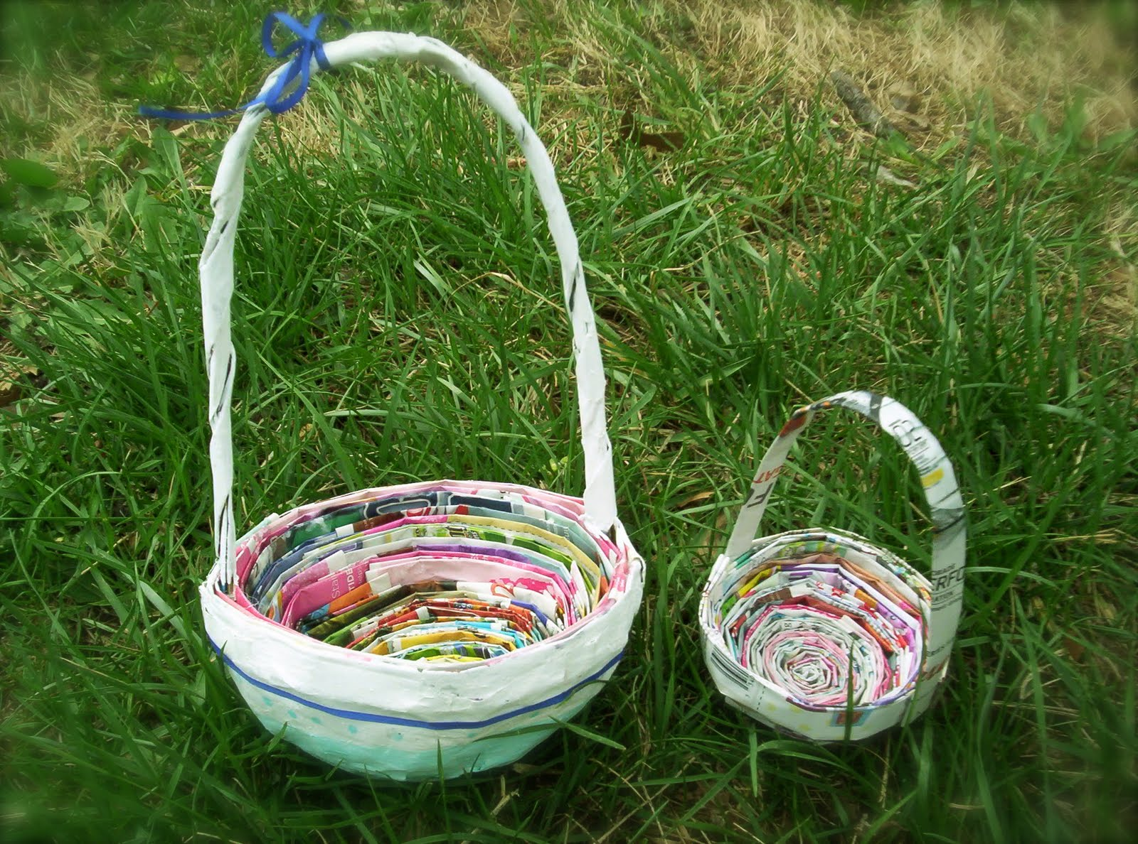 Basket Making Using Recycled Materials : Roots of simplicity recycled newspaper easter baskets