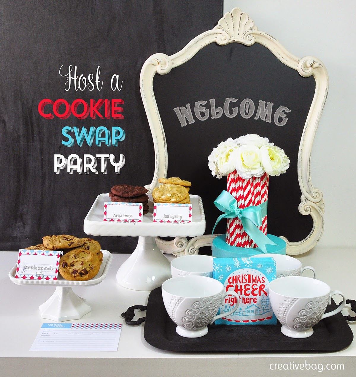 host a cookie swap party and free printables | creativebag.com