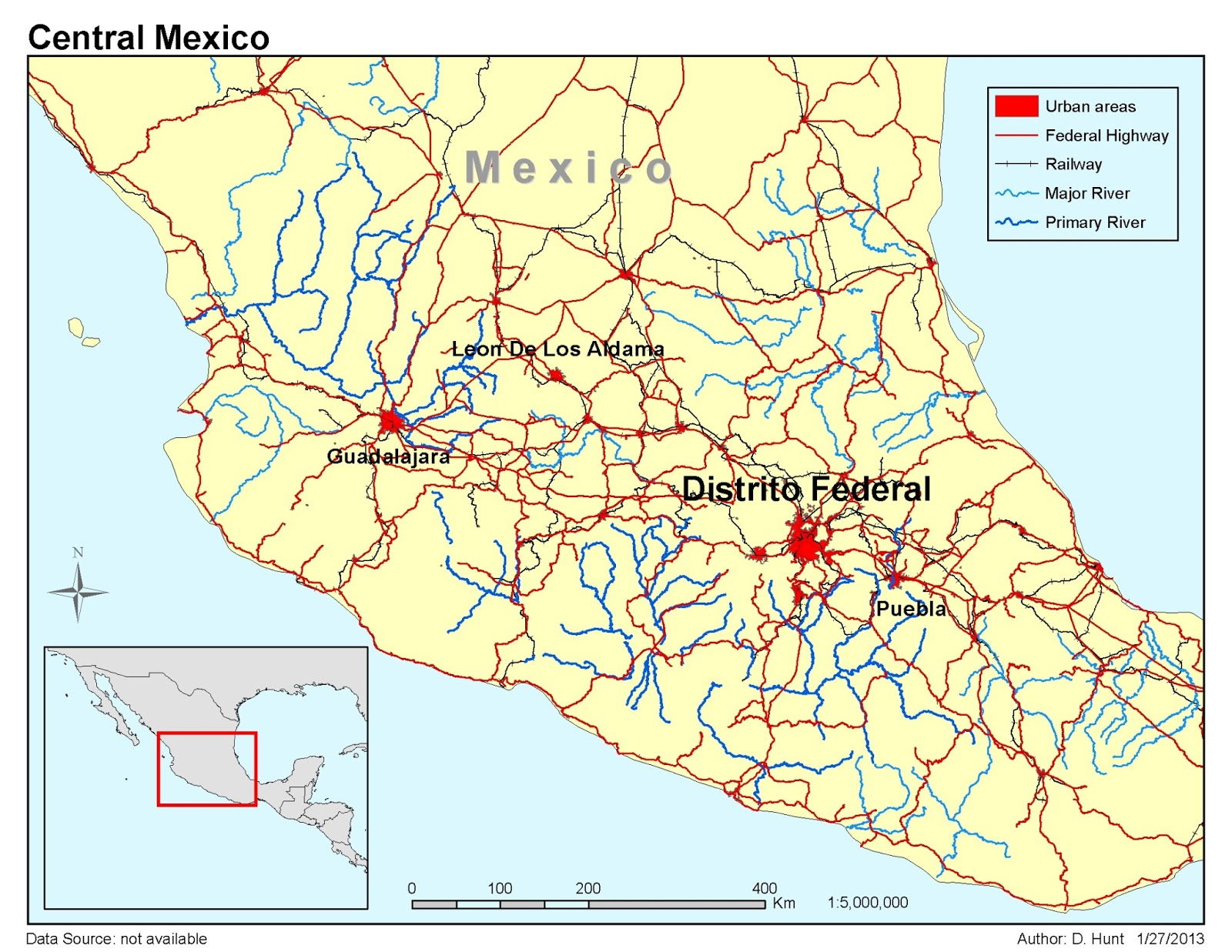 this map of central mexico allowed us to play with presenting a number of elements on the map i m pretty happy with the overall color scheme even though