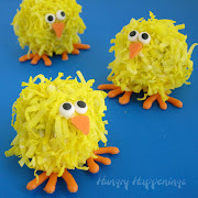 This is a super cute Easter chick cakeball recipe similar to the fuzzy . easter cake balls pops recipe chicks holiday edible crafts recipes