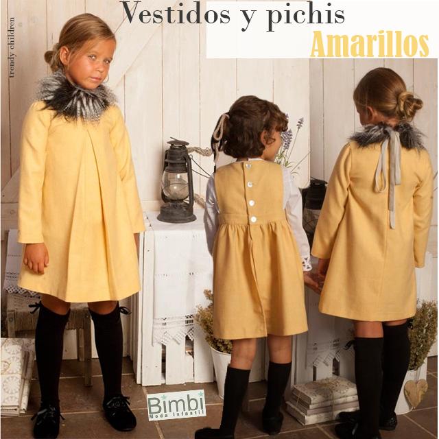 vestido pichi amarillo bimbi moda infantil otoño invierno 2014 2015