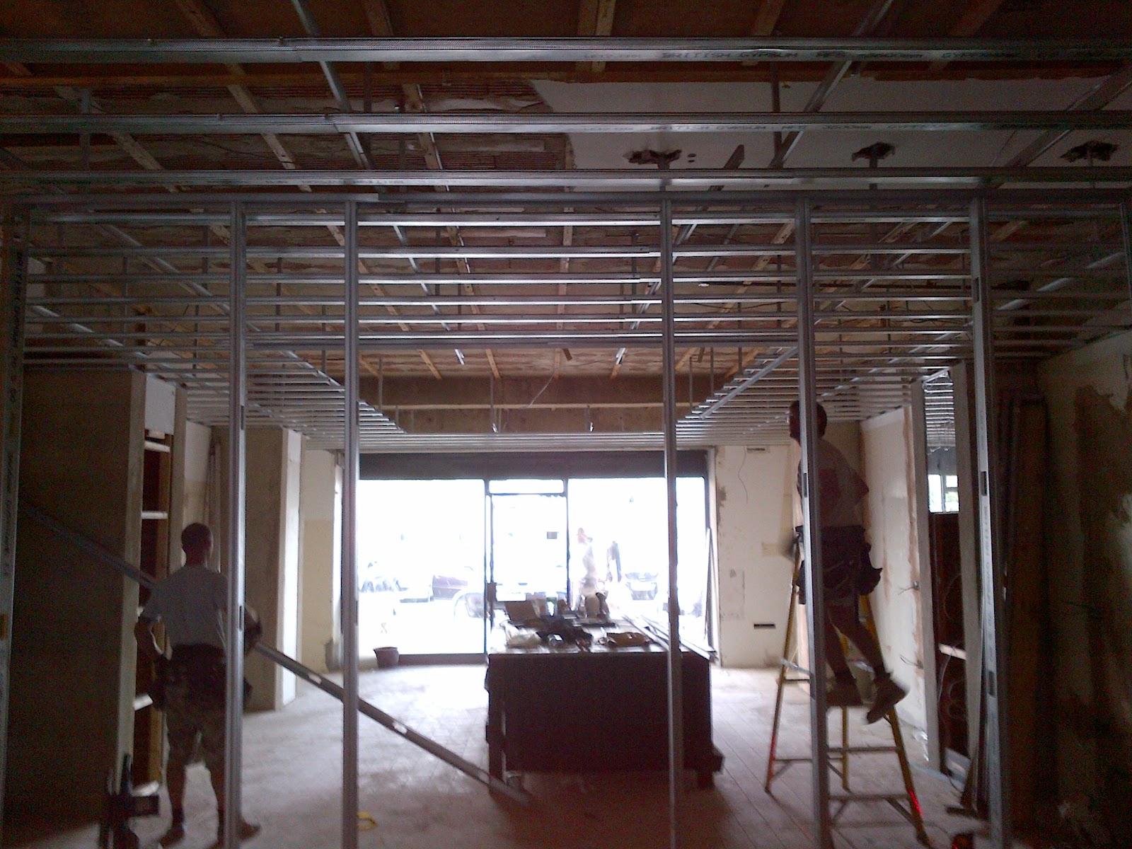 bebuilt.: Metal frame ceiling & stud- Ice cream parlour , Crawley