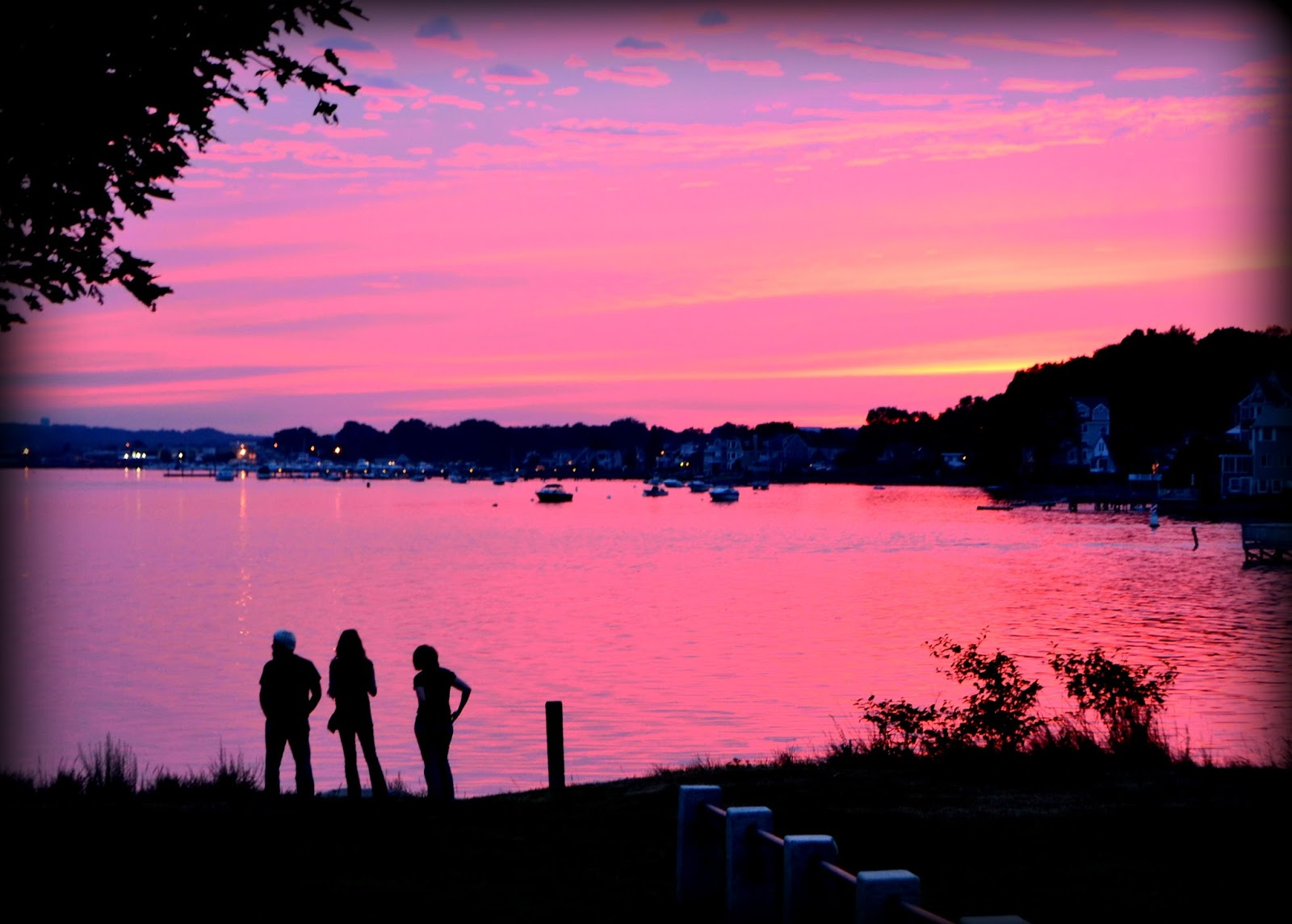 pink sunset, peaceful, beverly, massachusetts, danvers river