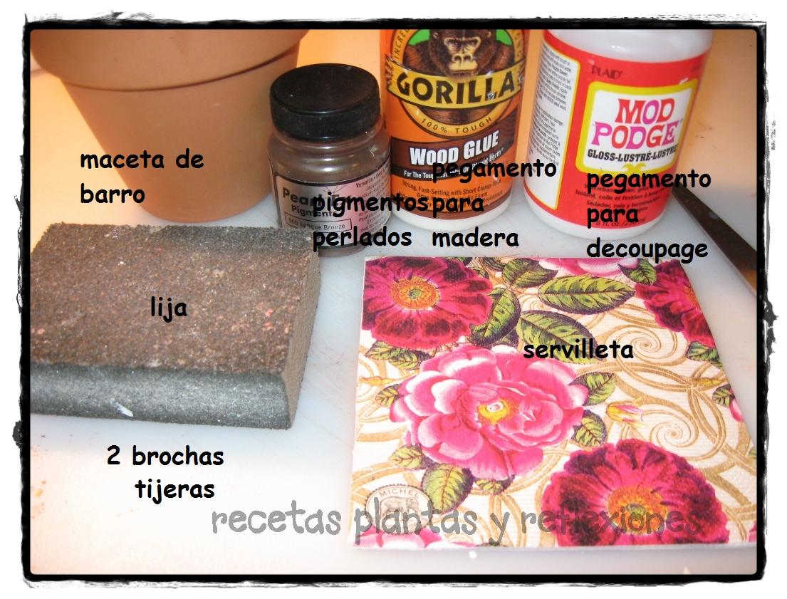Recetas plantas y reflexiones juego de macetas con decoupage - Pegamento para decoupage ...