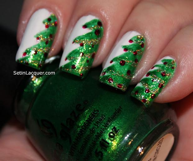 christmas tree nail art - set