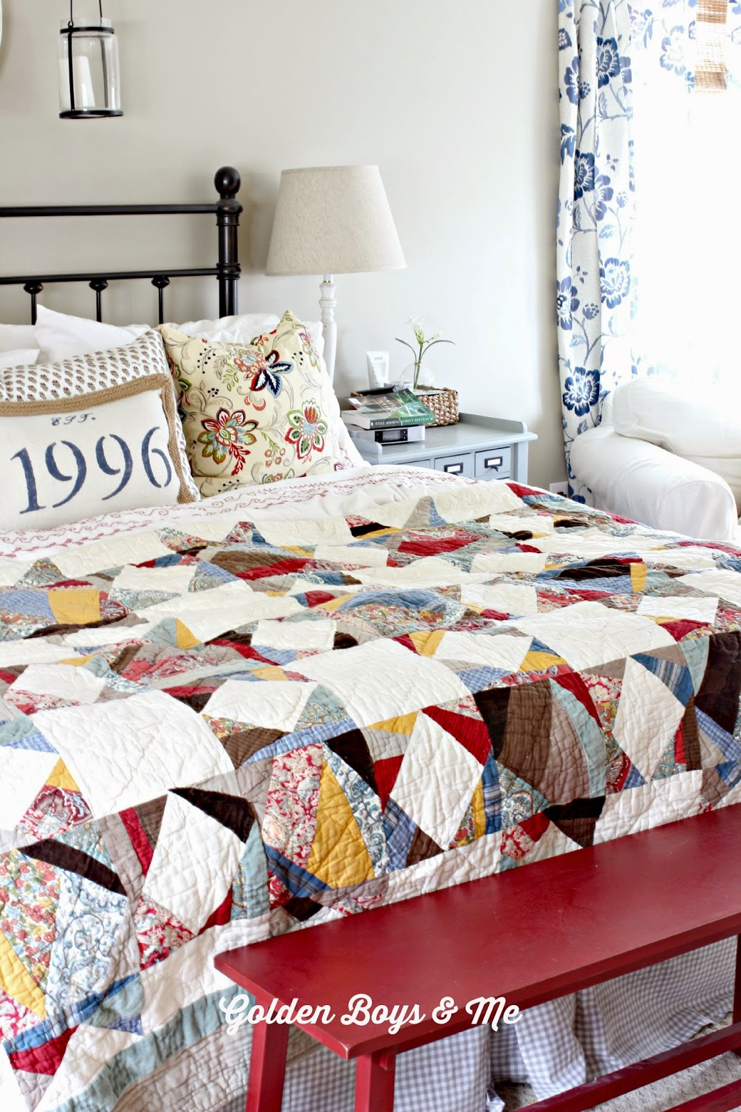 Pottery Barn quilt in Master Bedroom- www.goldenboysandme.com