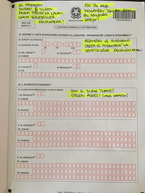 permesso di soggiorno başvuru formu modulo 1 sayfa 4