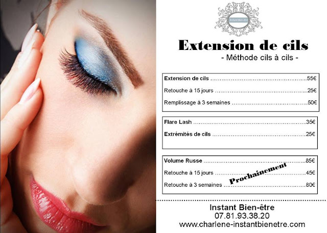 Instant bien tre extension de cils for Tarif extension