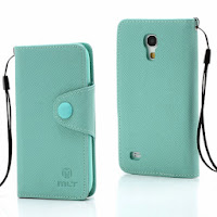 Leather Case Wallet With Credit Card Slot for Samsung Galaxy S4 Mini I9195 I9192 - Baby Green