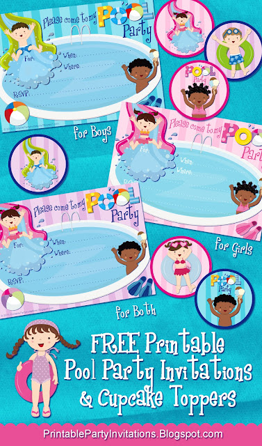 Declarative image with free printable pool party birthday invitations