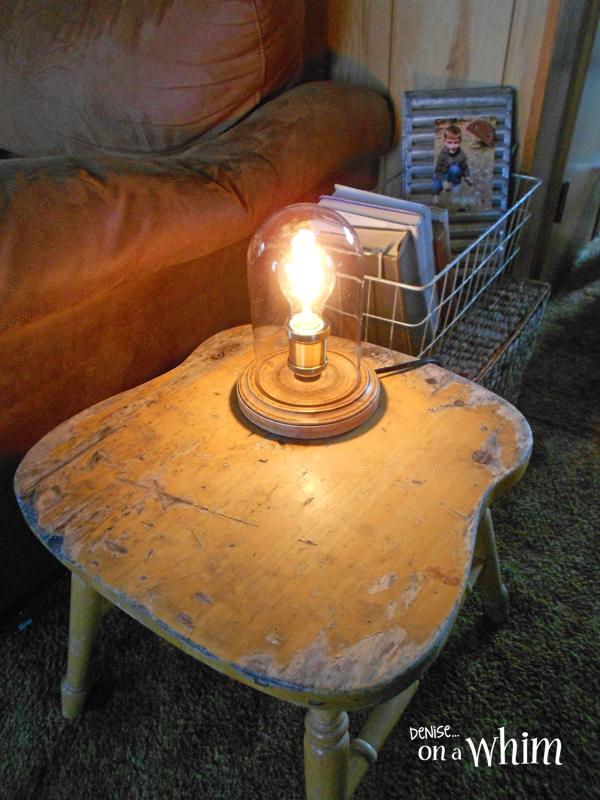 An Edison Bulb Lamp and a Chippy Yellow Table