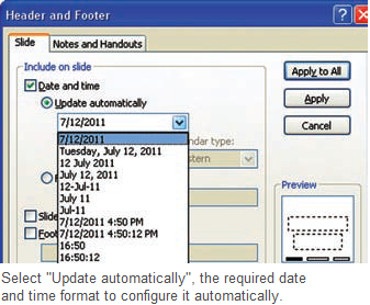 Automatically update the time and date(PowerPoint 2003 ...