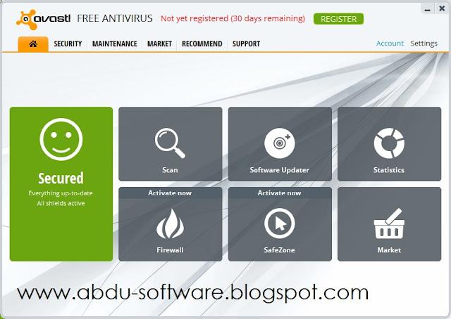 Tampilan Avast! Free Antivirus 8.0.1482