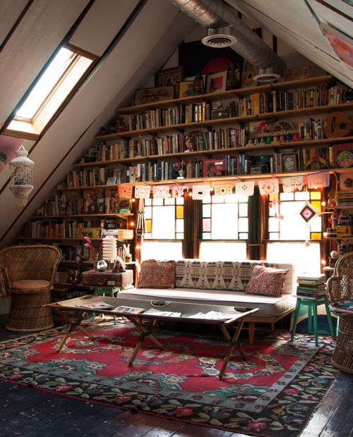 Moon to moon library floor to ceiling books Rustic style attic design a corner full of passion