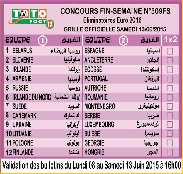 COUNCOURS FIN-SEMAINE N 309FS