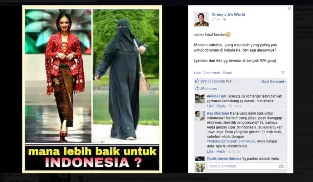 Kerdilkan Muslimah Bercadar di Sosmed Denny J.A Dikecam Netizen
