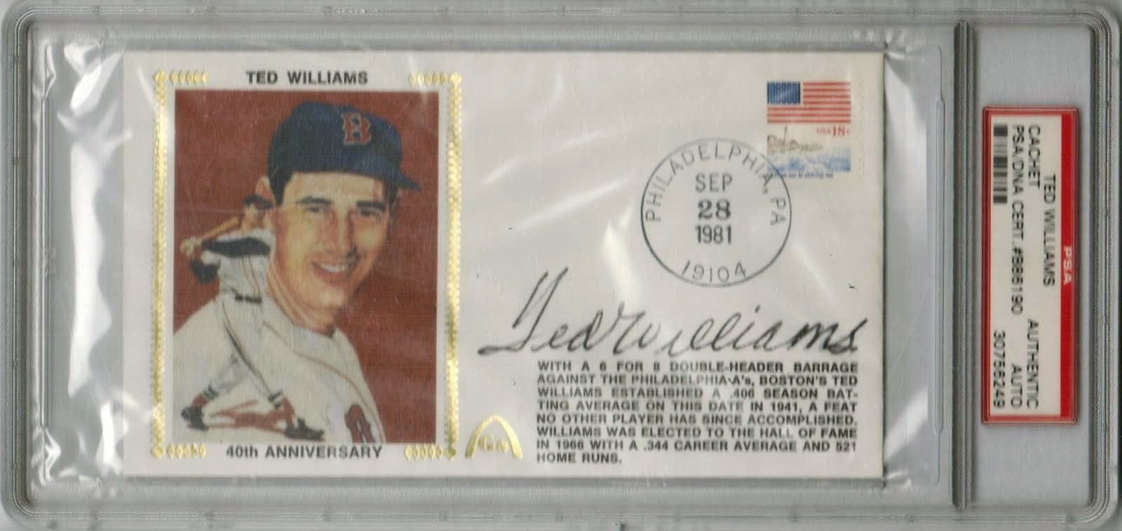 Ted Williams signed cachet