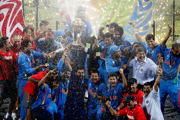 icc world cup final 2011 celebration. cricket world cup final at