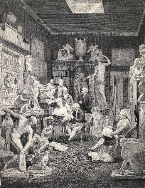 The Towneley Museum    Print by William Henry Worthington after Johan Joseph Zoffany (1833)  Charles Townley is in the chair to the right.    © Trustees of the British Museum