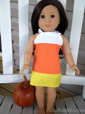 Candy corn doll dress
