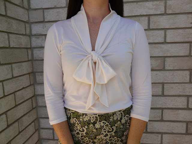 Puss bow blouse made with silk jersey from Mood Fabrics and sewing pattern Jalie 2921.