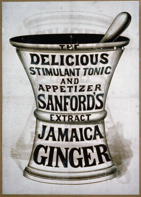advertising, vintage, vintage posters, free download, graphic design, Jamaica Ginger Vintage Advertising Poster - Delicious Stimulant Tonic and Appetizer - Sanford's Extract