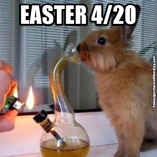 Easter Bunny Smoking Weed Funny 4/20 Water Bong