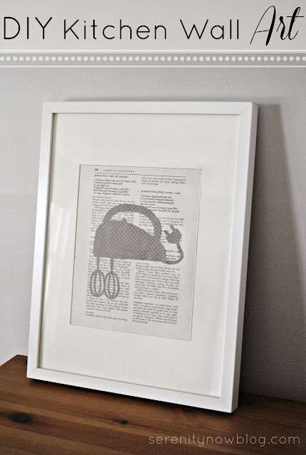 DIY Kitchen Wall Art (Vintage Cookbook Pages and Silhouettes), from Serenity Now