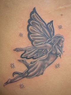 Black and Grey Ink Fairy Angel Tattoo Design