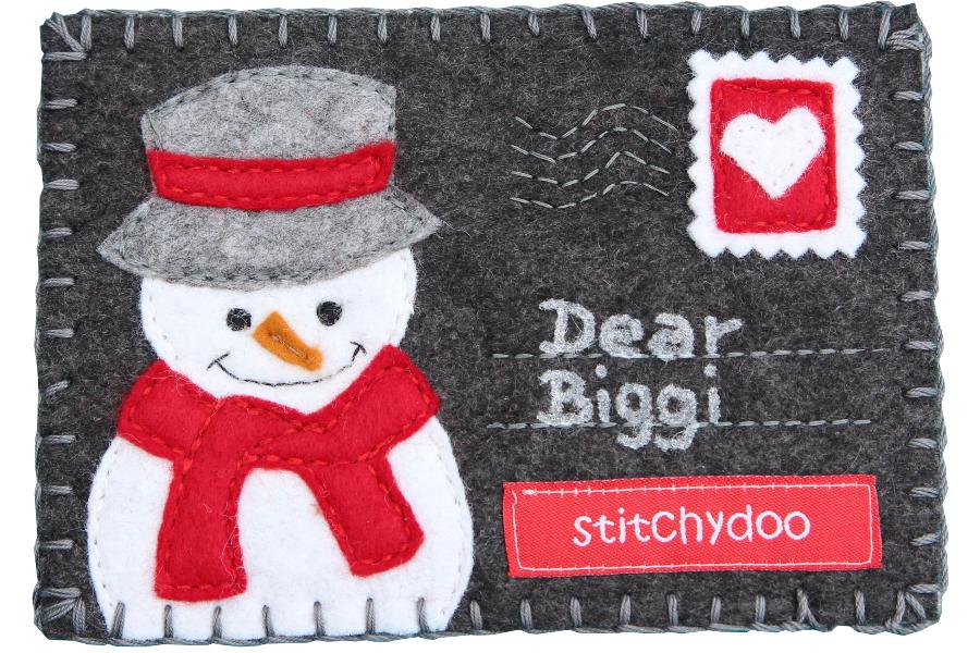 stitchydoo: Stoffkartentausch | Winterliche Grüße im Dezember - Schneemann