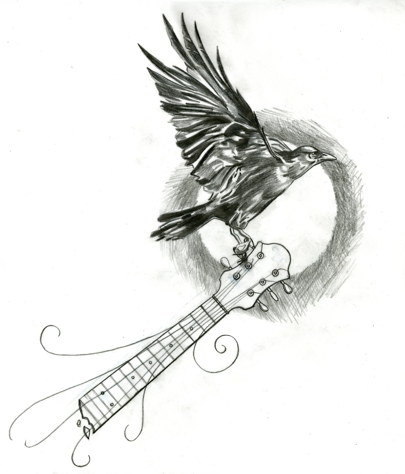mike 39 s tattoo design crow design. Black Bedroom Furniture Sets. Home Design Ideas