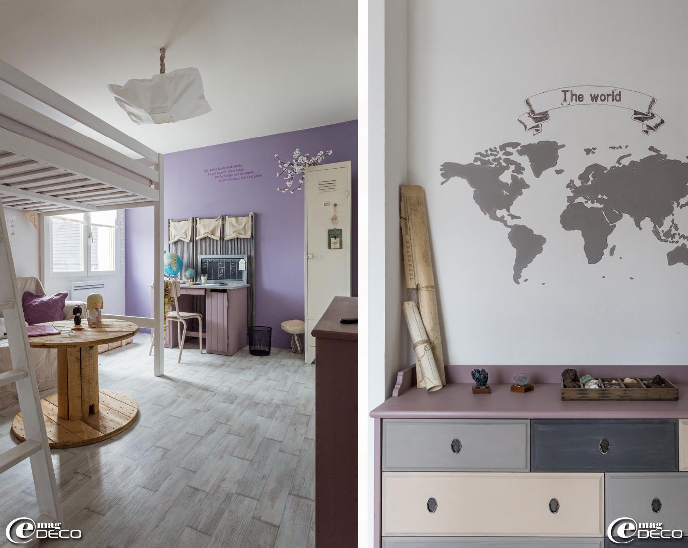 Lit, vestiaire et meuble à tiroirs 'Ikea' repeints par Aurore de la boutique en ligne 'Smile :)'