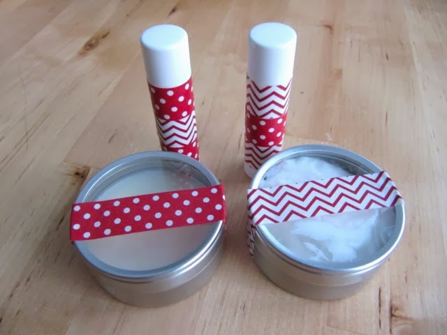 homemade lotion, soap, lip balm