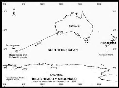 Ubicacion de Las Islas Heard y McDonald con respecto a Australia y Antartida, blanco y negro