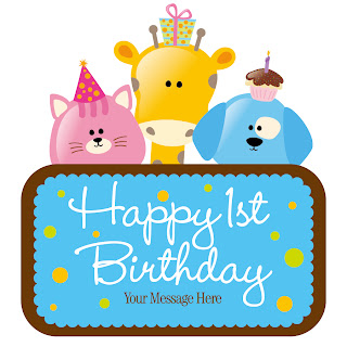動物のバースデー カード テンプレート Vector Child Birthday Card