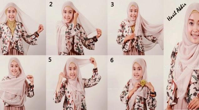 tutorial model jilbab pasmina bahan sifon