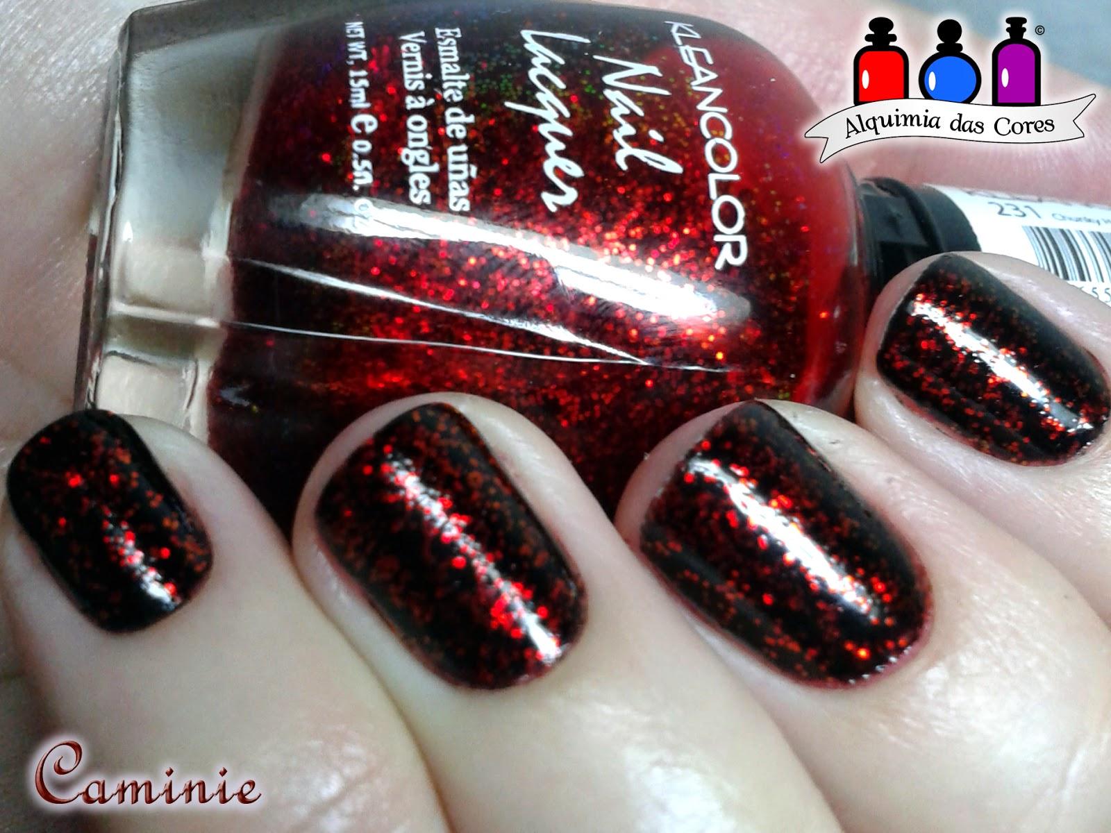 Preto, Vermelho, kleancolor, Glitter, chunck holo scarlet, Caminie, nail polish, esmalte